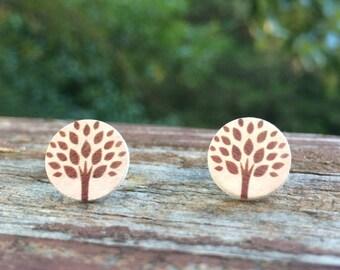 12mm Wood nickel-free earrings - cream and brown tree earrings - natural tree earrings
