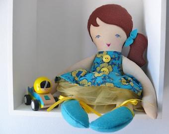 "Hannah - Handmade rag doll, 38cm (15""), fabric doll, plush doll, gifts for girls."