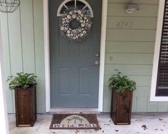FREE SHIPPING! Rustic Reclaimed Wood Planter - Outdoor Planter - Tall Flower Planter -  Rustic Planter