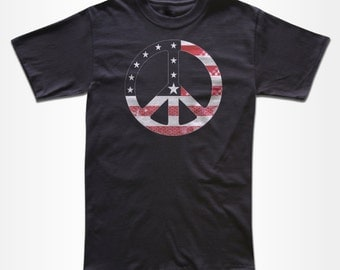 Peace Sign T Shirt - Retro Tees for Men, Women & Children (All Colors) Peace Symbol, USA, American Flag, 1970s Tee, Woodstock,