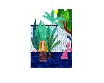 A4 Mermaid and Trees print