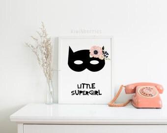 Little super girl art print - Monochrome  girls nursery wall art - Printable floral - Black and white wall print - Printable girls gift
