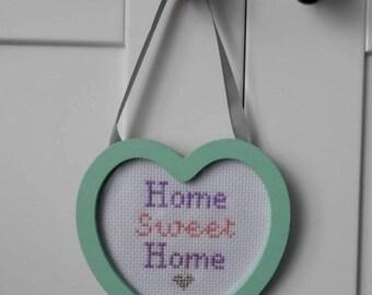 Cute 'Home Sweet Home' Heart Framed Cross Stitch