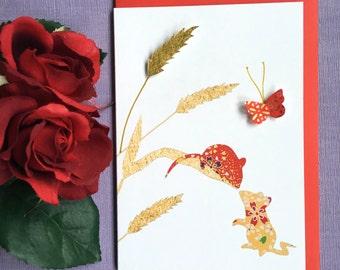 Wildlife card - love card - animal love card - butterfly card - blank card - handmade card - spring cards - magical card - colorful cards