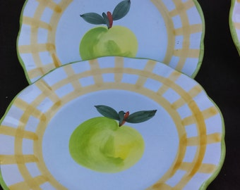 "Set of 4 Salad Plates Country Fair   Brand: William Sonoma Pattern Country Fair Size 8 1 /2"" made in Italy vintage plates By Designers Guild"