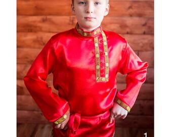 Silk shirt for men, boy, Slavic traditional russian kosovorotka, Artificial silk, Russian costume, Kaftan mens, Festive events, Ethnic style
