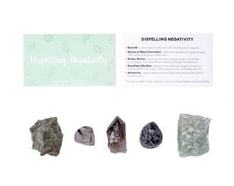 Dispelling Negativity Crystal Set / Positivity Crystal Set / Crystals For Getting Rid of Negativity / Negativity Stones / Positive Energy