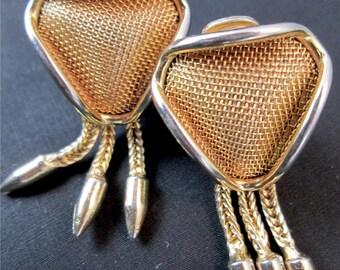 Vintage Continental Modernist Triangular Mesh Triple Chain Dangle Gold Tone Pendulum Clip On Earrings Mid Century Modern