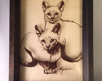 Vintage Cat Kittens Glass 3D Wood Framed Wall Art 80's 8 x 6