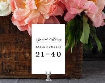 Wedding Table Numbers, Table Numbers 21-40 Special Listing (for all table number designs) EDN 5493