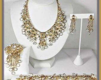 Vintage Rhinestone Grand Parure,Vintage Rhinestone Jewelry Set,Vintage Rhinestone Statement Jewelry,Vintage Necklace,Bracelet,Brooch,Earring