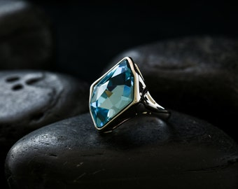 Sky Blue Cocktail Ring with Swarovski Crystal