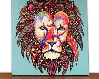 Animal Canvas Art - Lion Wall Art - Home Decor - Tribal Art - Drawing - Markers