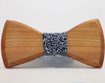 FREE SHIPPING> Wooden Bow Tie, Blue Swirl Fabric