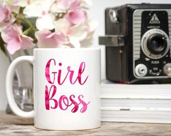 Girl Boss, Girl Boss Mug, Watercolor Mug, Inspirational Mug, Entrepreneur Gift, Entrepreneur Mug, Boss Mug, Boss Coffee Cup,  Girl Boss Cup