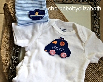 Police Coming home outfit!  Blue and white striped hospital hat with police hat for a newborn boy, police car onesie