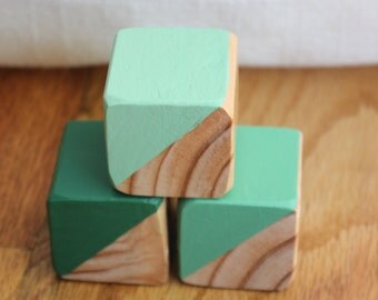 3 Green Painted Wooden Blocks