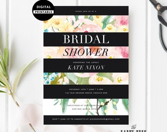 Watercolor Floral Printable Bridal Shower Invitation , Black Stripes Bridal Shower Invitation Printable  , 5x7 , A6 , Floral Bridal Shower
