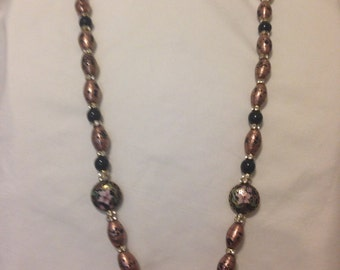 Handpainted beads with gold detail
