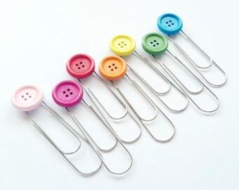 Button Paper Clip - Jumbo Paper Clip - Paper Clip Bookmark - Planner Accessories - Planner Bookmark - Planner Clip - PC001