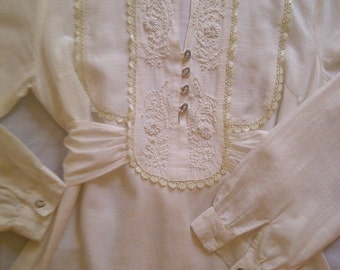 Hand Embroidered White Rayon Peasant Tunic - Size M