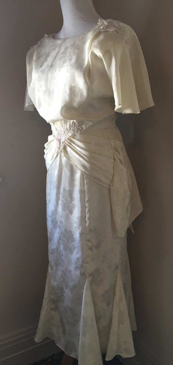 Vintage Wedding Dress Ca : Vintage wedding dress s ivory floral silky retro