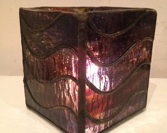Waves Stained Glass Candle Box / Candle Holder
