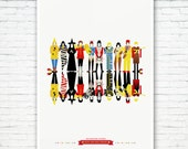 The Rolling Stones Poster Print: The Rock and Roll Circus. Illustrated poster, matte or Giclee Art Prints. Prints of London, Rock posters