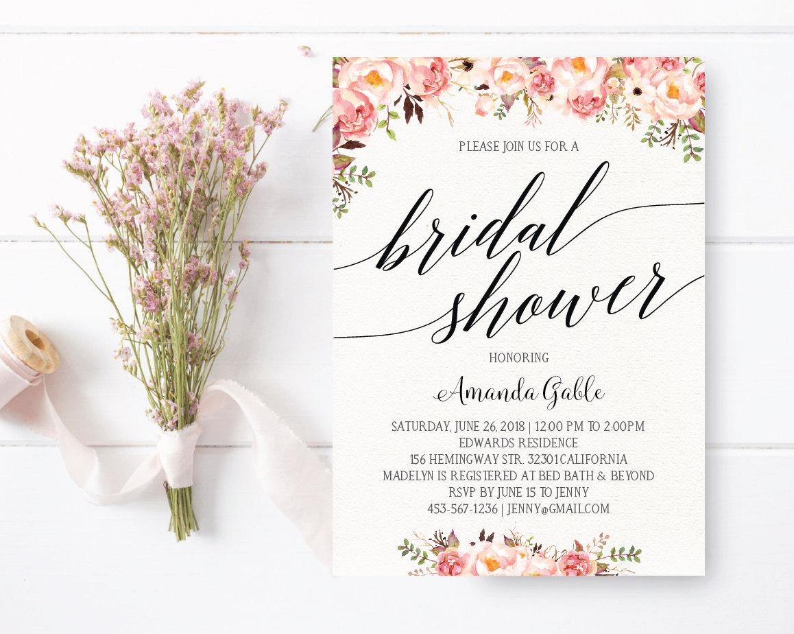 Bridal shower invitation floral bridal shower invitation for Bridal shower email invitations