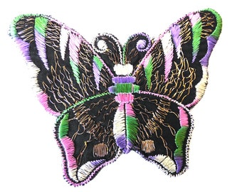 Applique, 1930s vintage embroidered butterfly applique. Vintage patch, sewing supply. Applique, Crazy quilt #643GB7K2