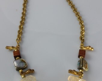 Vintage Miriam Haskell Brass Shell Necklace
