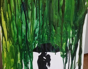 Melted Crayon Art - Green