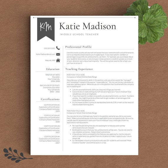 Teacher Resume Template For Word Amp Pages 1 2 By