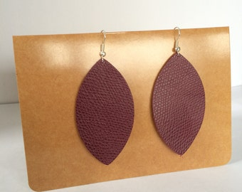 Hand cut leather leaf earrings