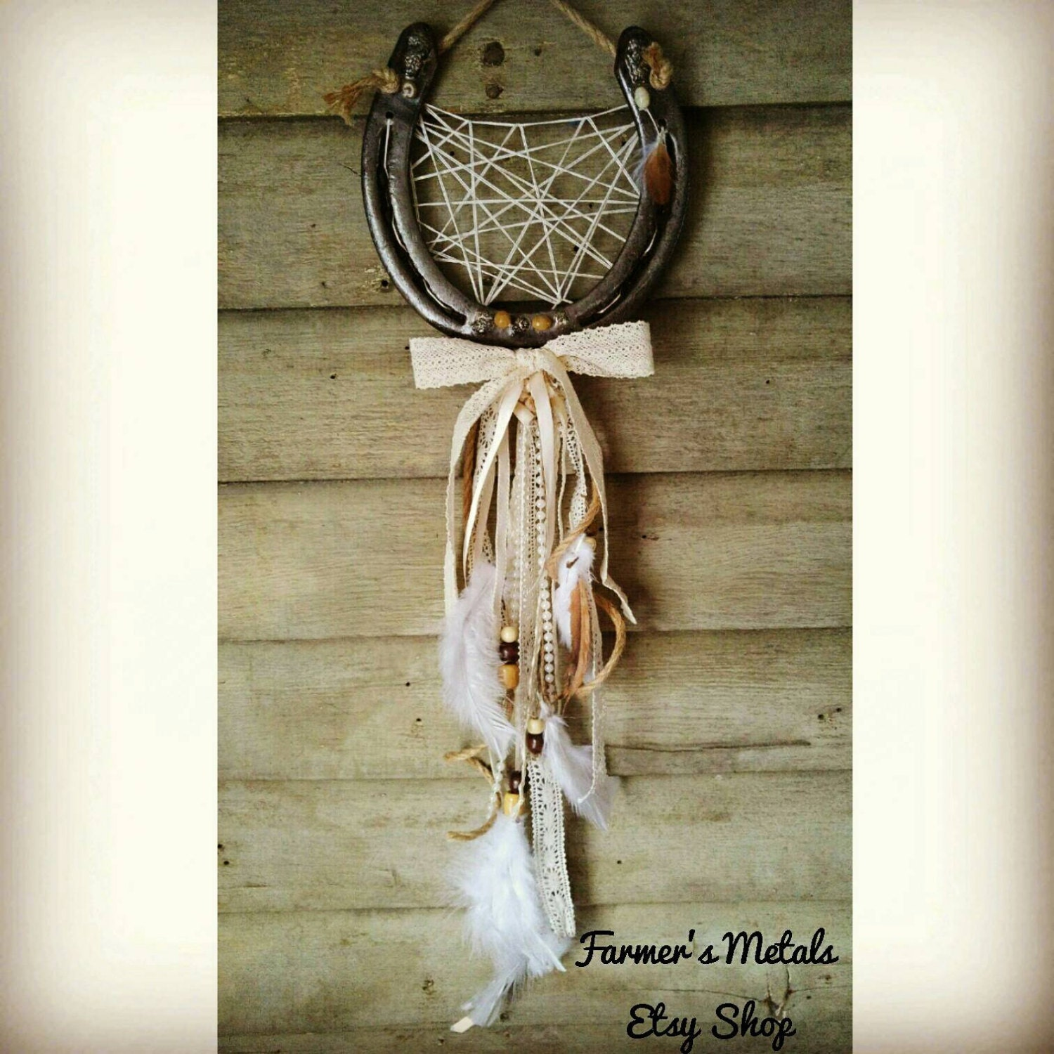 Horse decor horse wall decor horseshoe dreamcatcher for How to decorate horseshoes