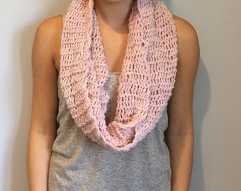 Pink Wool Blend Knit Infinity Scarf