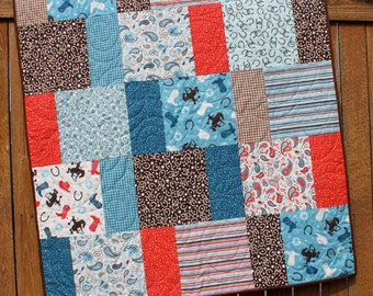 Blue Cowboy Baby Boy Quilt, Western Baby Bedding, Rodeo Baby Quilt, Country Quilt, Brown, Red, Horse Baby Quilt, Horseshoe, Handmade Blanket