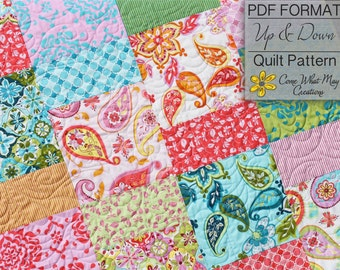 PDF Quilt Pattern, Layer Cake Pattern, Up and Down Quilt Pattern, Baby Quilt Pattern, Lap Quilt Pattern, Beginner Quilt Pattern, Easy Quilt