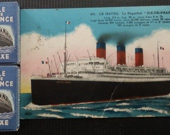 French razor blades ILE DE FRANCE 1950s. 20 boxes of 5 blades, a postcard and a keyring of the ocean liner Ile de France