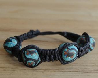 polymer clay, braided rope bracelet