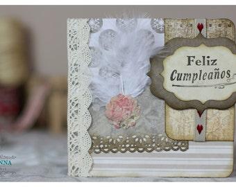 Card happy birthday Vintage/Postcard/Card/Gift/birthday