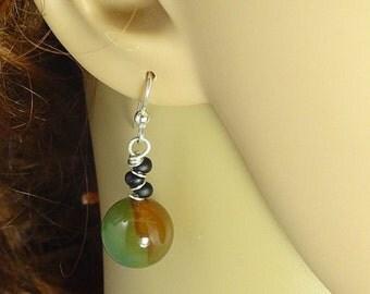 Fire Agate beads, 12 mm Round, Dangle Earrings, Springtime Earrings, Earthy color Earrings, Fun Earrings, Sterling Silver Earrings