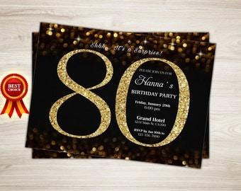 80th birthday invitations | Etsy
