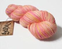 Hand Dyed Yarn - Hand Dyed Sock Yarn - 100% Baby Alpaca Wool in 'Bellini'