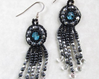 Beadwork/beaded earrings, embroidered, 1920s inspired, in Czech glass and sterling silver