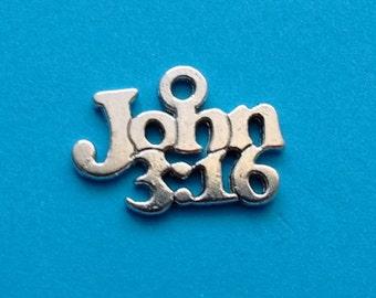 10 John 3:16 Word Charms Silver Christian Charm - CS3016