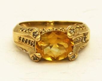 Citrine Diamond Ring, Yellow Stone  Gold Ring, 10k Yellow Gold Citrine Diamond Ring