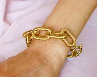 Linked in 14k Gold Bracelet, Gold Woven Bracelet