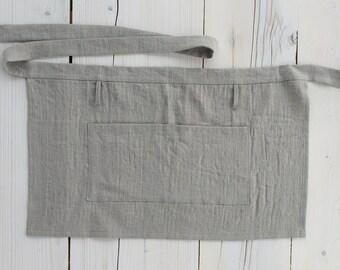 Linen Short Apron Flax Linen Short Pinafore Womens Mens Natural Flax custom sizes + various colors