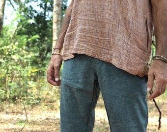 Mens Summer Vest, Mens Tribal Vest, Mens Hippie Wear, Mens Sleeveless vest w/ side pockets